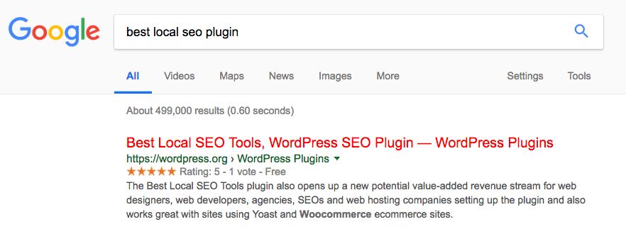 Number One Ranking in Google for Best Local SEO Plugin
